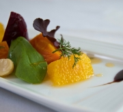 Roasted local beets, Kau' orange, baby greens, macadamia nut, blood orange balsamic