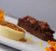Deconstructed Passion fruit cheesecake, chocolate mousse cake, macadamia nut brittle, mango sauce
