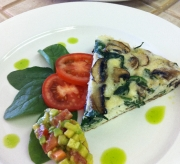 Spinach, cremini mushroom frittata, tomato and avocado relish