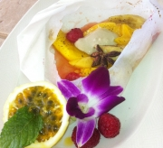 Fruits en Papillotte, cashew vegan whip cream