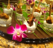Oregano chicken skewers, yogurt mint cucumber dip sauce appetizer