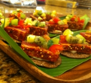 Seared Ahi tuna, sesame rice crisp, tropical salsa