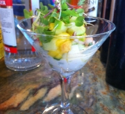 Shrimp ans scallop ceviche, coconut milk, lime tequila, micro greens