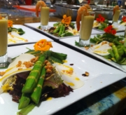 Fresh Hawaiian heart of palm, Wailua asparagus, greens salad, corn and lemongrass shooter, grilled Prawns