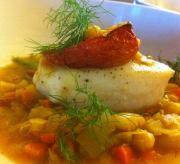 Roasted Halibut, saffron, fennel and cannellini beans broth, oven roasted tomato