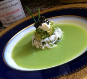 Chilled Asparagus Soup, tarragon crab relish and caviar