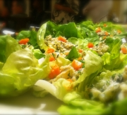 Lump crab salad, lime, lemongrass, papaya, butter lettuce cups