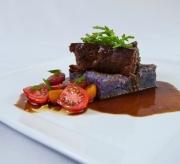 Asian braised short ribs, Molokai sweet potatoes, Ho farm tomatoes, Kahuku Sea Asparagus