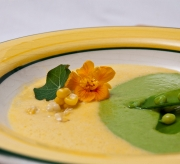 Ying and Yang Spring Pea and Sweet Corn Soup